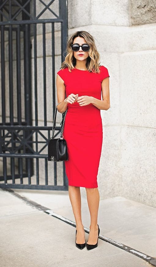woman in red dress for a wedding