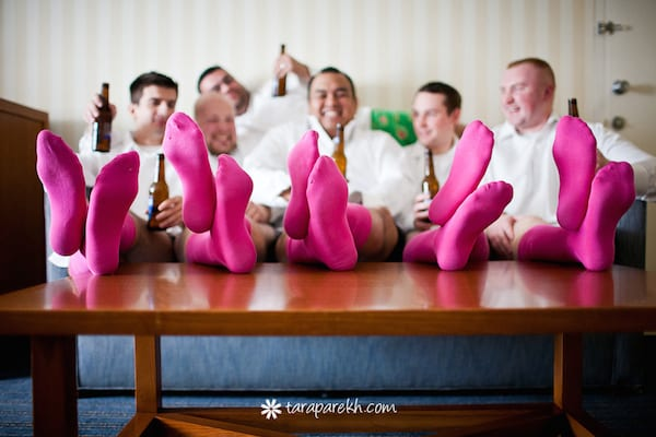pink socks for groom