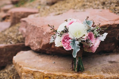 pearls and poppies bridal bouquet