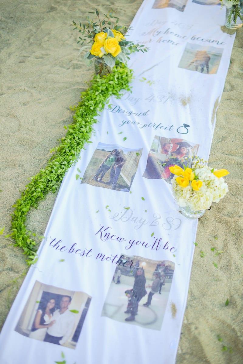 wedding aisle runner on beach