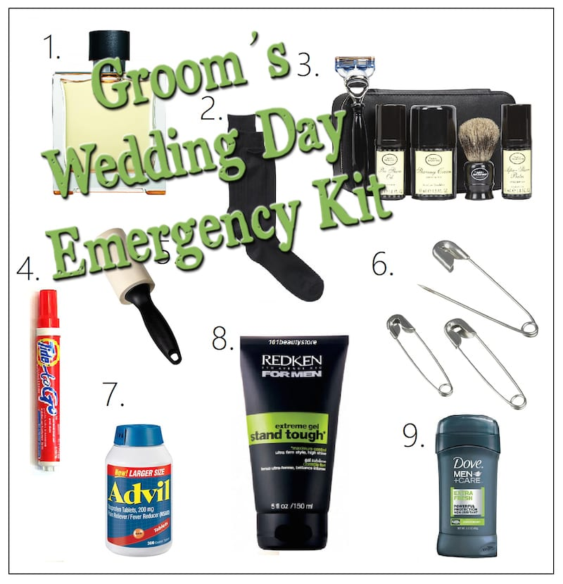 Grooms wedding day emergency kit