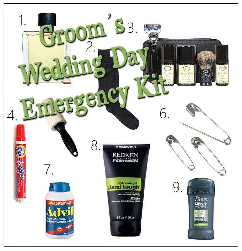 Grooms Wedding Day Emergency Kit