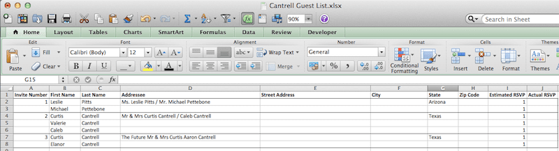 Wedding Guest List Format