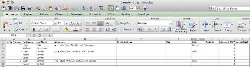 Wedding Guest List Format