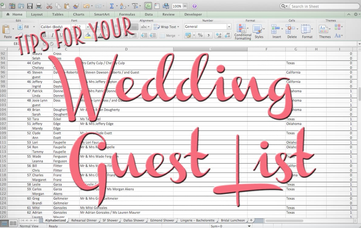 Wedding Guest List Tips  Free Wedding Guest List Template