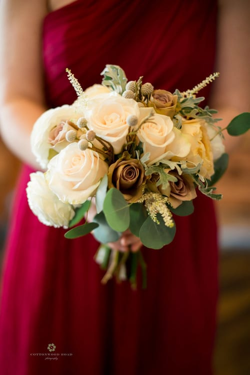 pearls and poppies bridesmaids bouquet