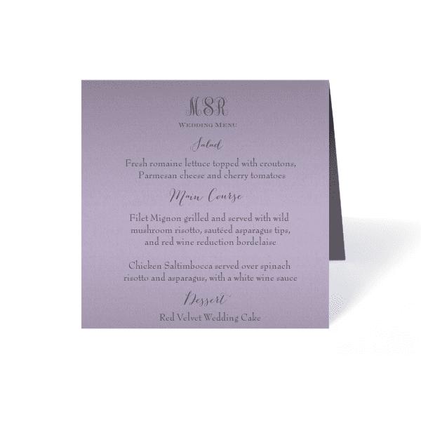 interlocked monogram wedding menu