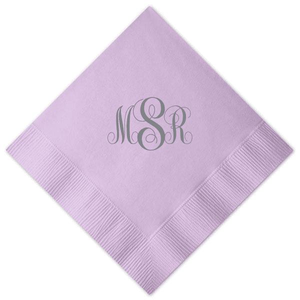 interlocked monogram wedding napkin