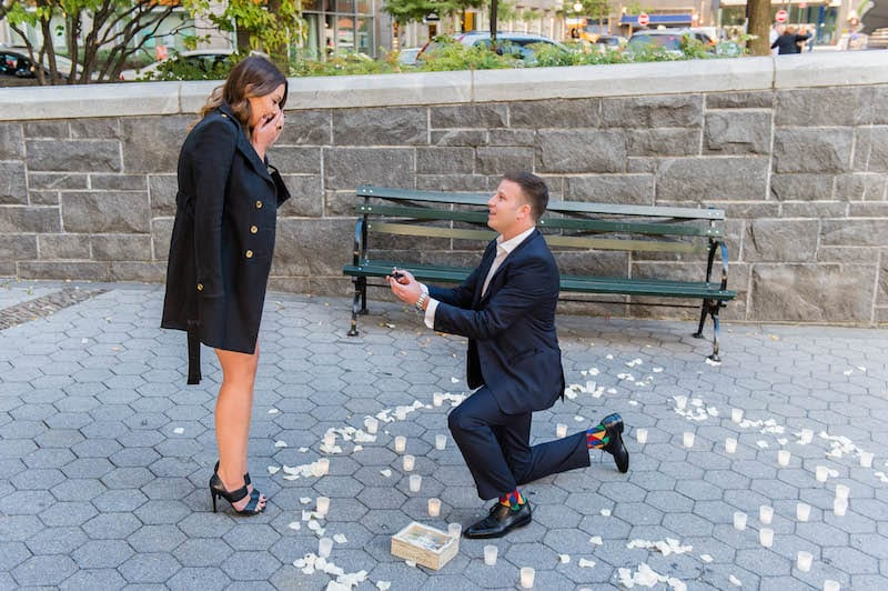 nyc wedding proposal with a skyline view