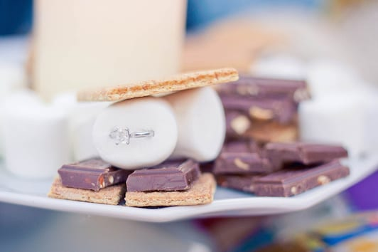 bonfire marriage proposal idea with s'mores