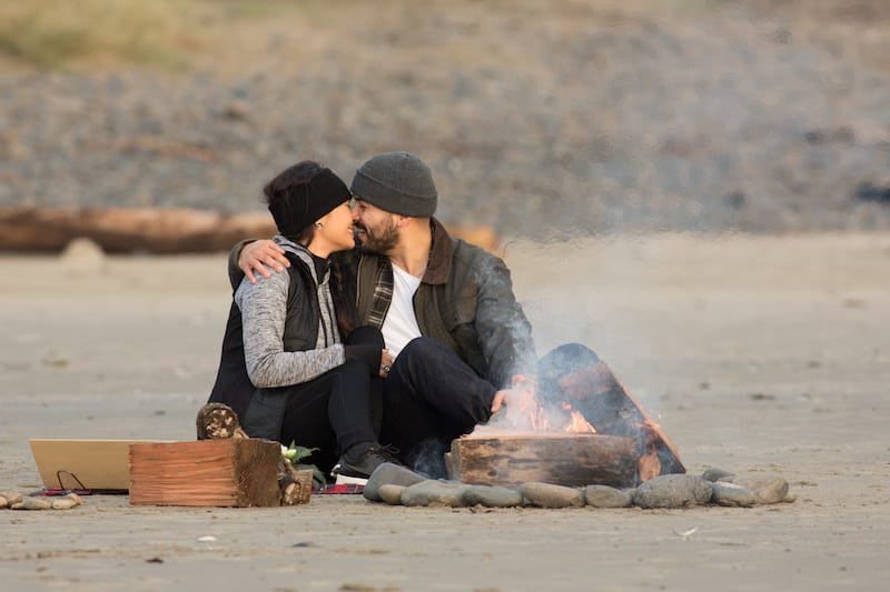 Beach Campfire Picnic S'mores Proposal