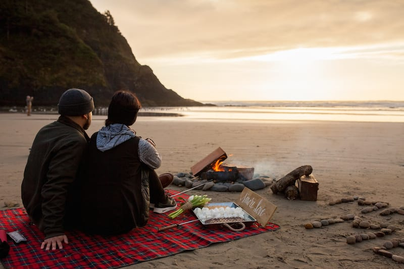 Beach Campfire Picnic S'mores Proposal