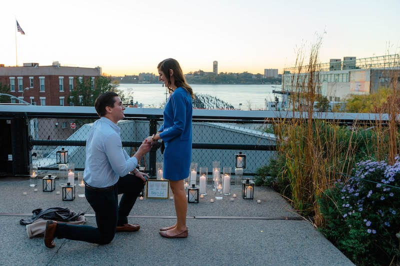 candles at sunset proposal in manhattan