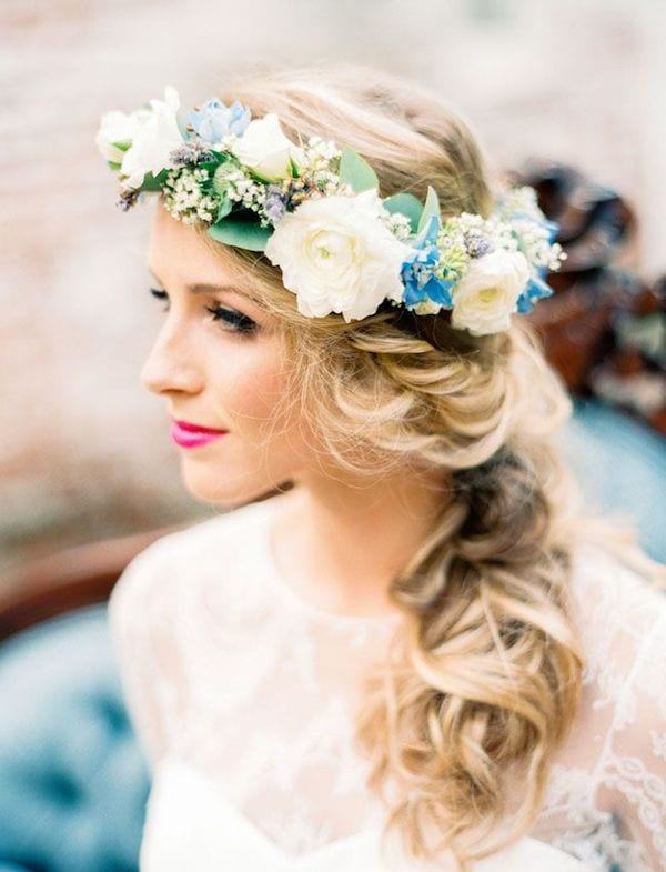 something blue: bridal crown