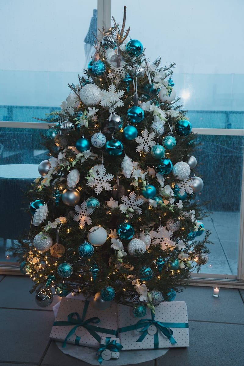 teal and white christmas tree on rooftop