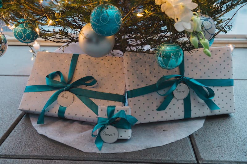 turquoise and white christmas gifts