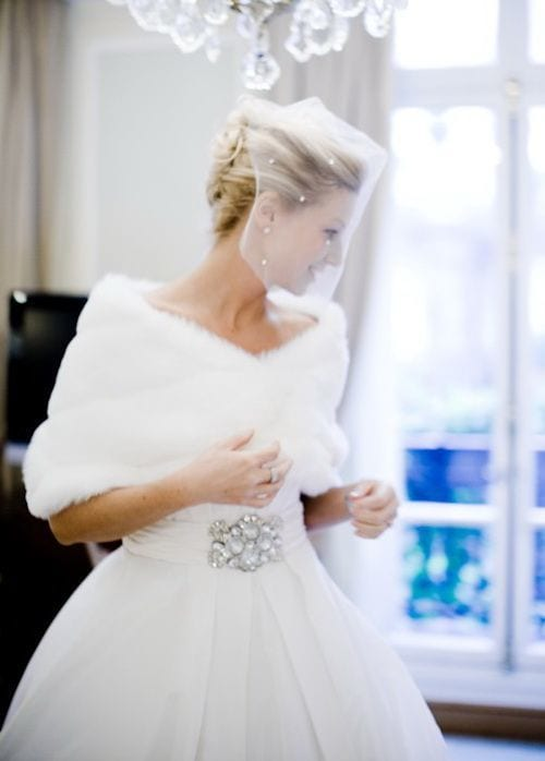 stay warm in wedding gown