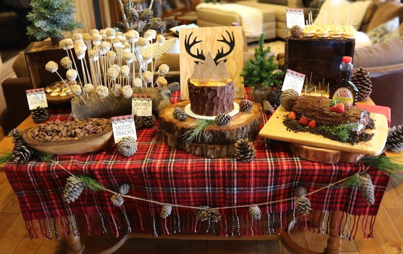 lumberjack party dessert table by the yes girls