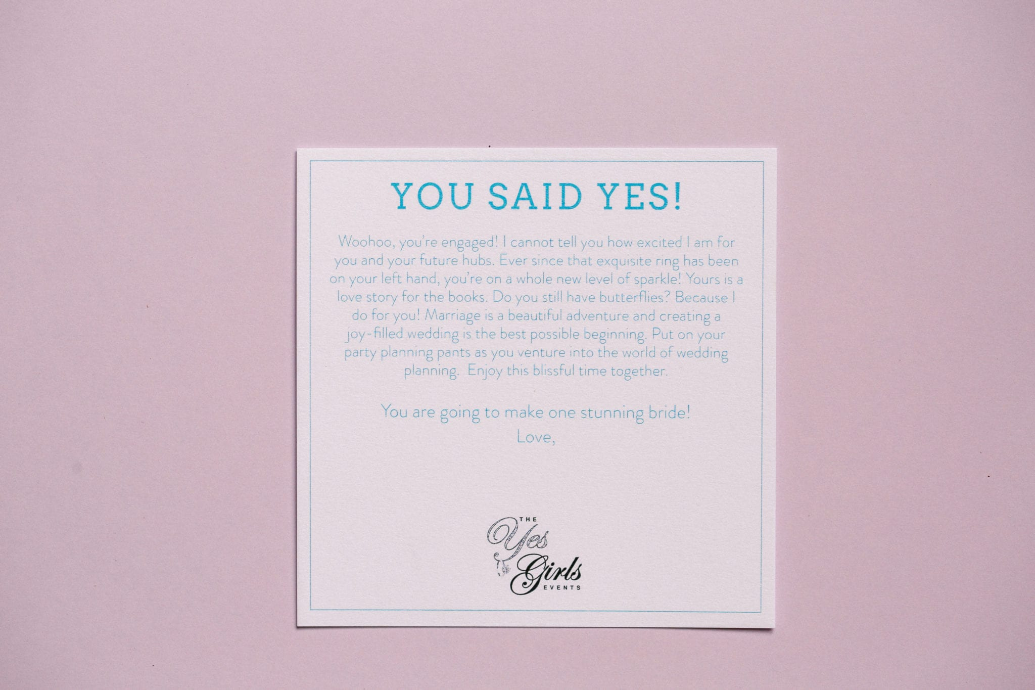 She Said Yes Greeting Card | The Yes Girls Just Engaged Box for bride to be