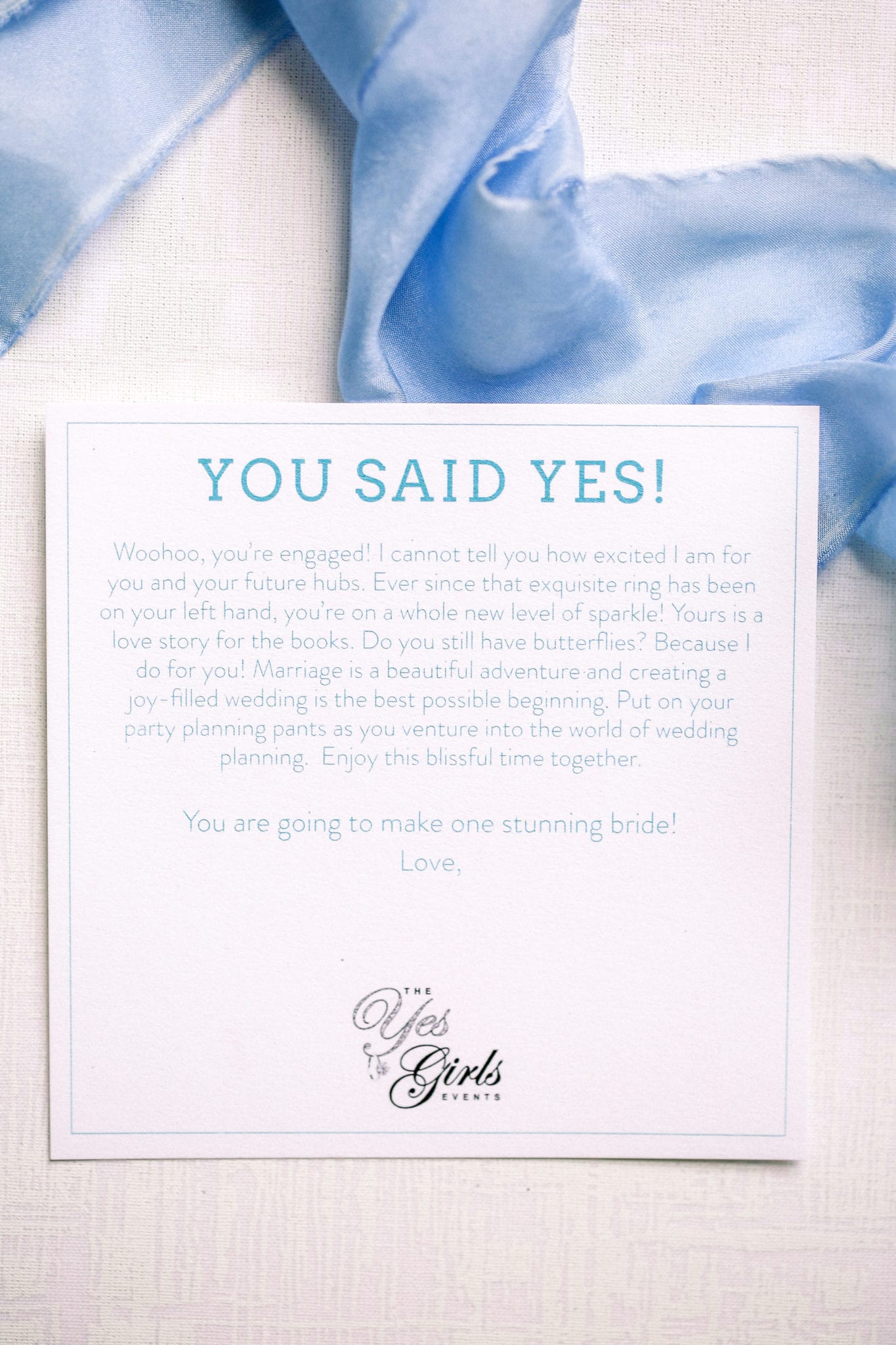 You Said Yes Card The Yes Girls Just Engaged Box