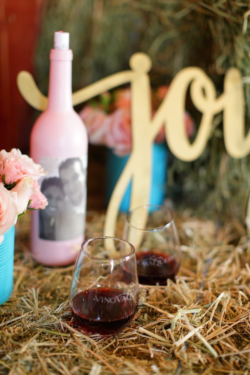 pink wine bottles with photo personalized labels