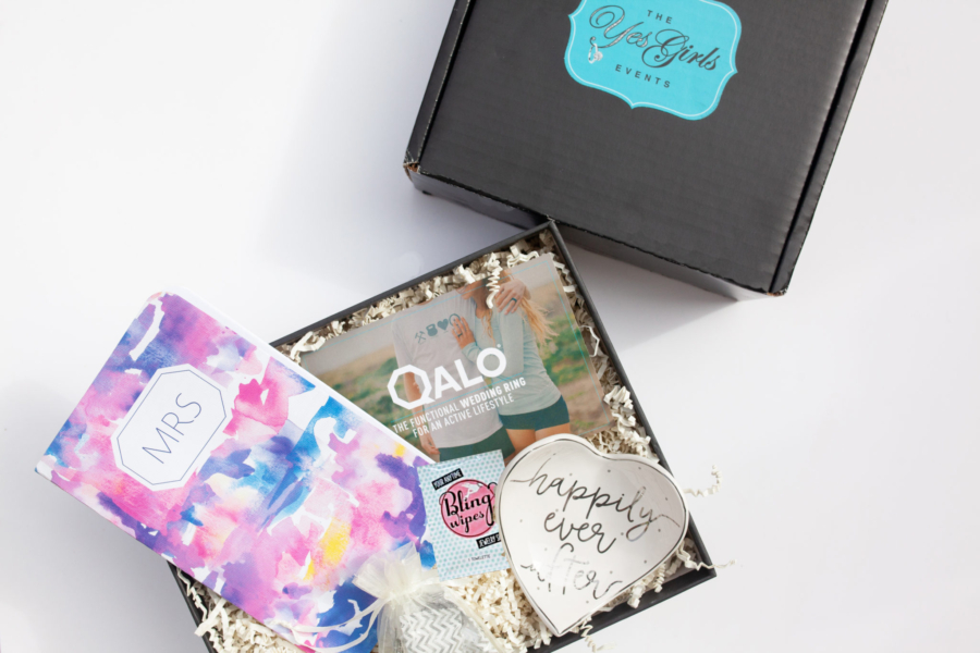 engagement gift box with ring dish, wedding planner, bling wipes, QALO ring for him or her