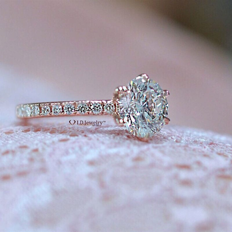 ID Jewelry Rose Gold Engagement Ring