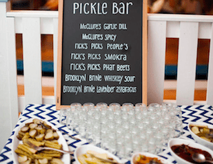 pickle bar at a wedding