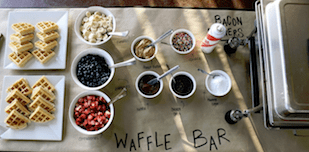 waffle bar at a wedding