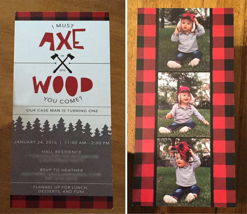 lumberjack 1st birthday invite by the yes girls