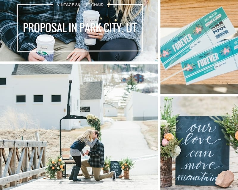 vintage romantic proposal in park city