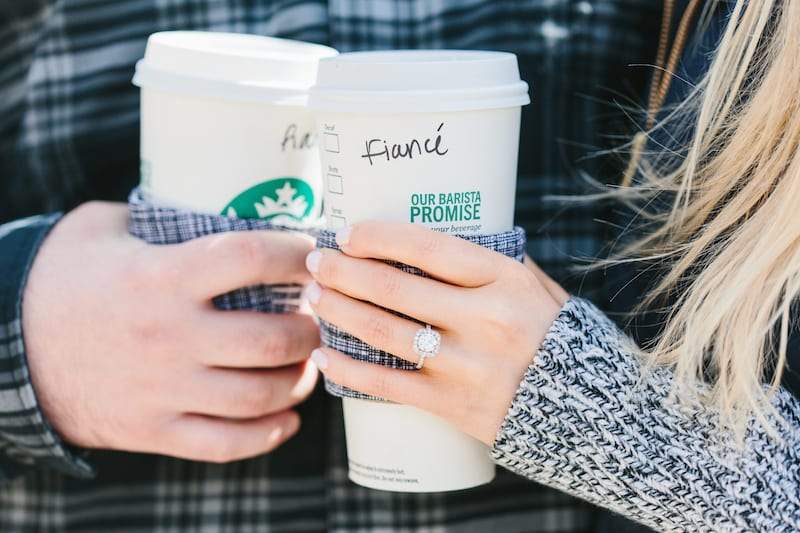 engagement ring with starbucks drink
