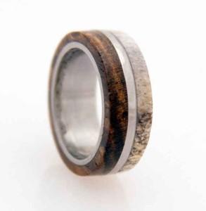 Wedding Band Antler Anium Ring