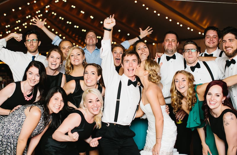 bridal party cheering under wedding tent dallas south fork