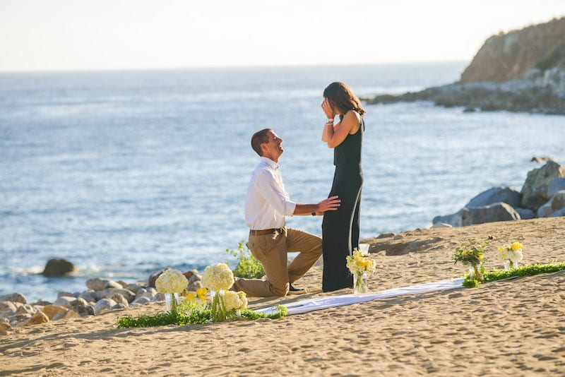 private beach in la marriage proposal