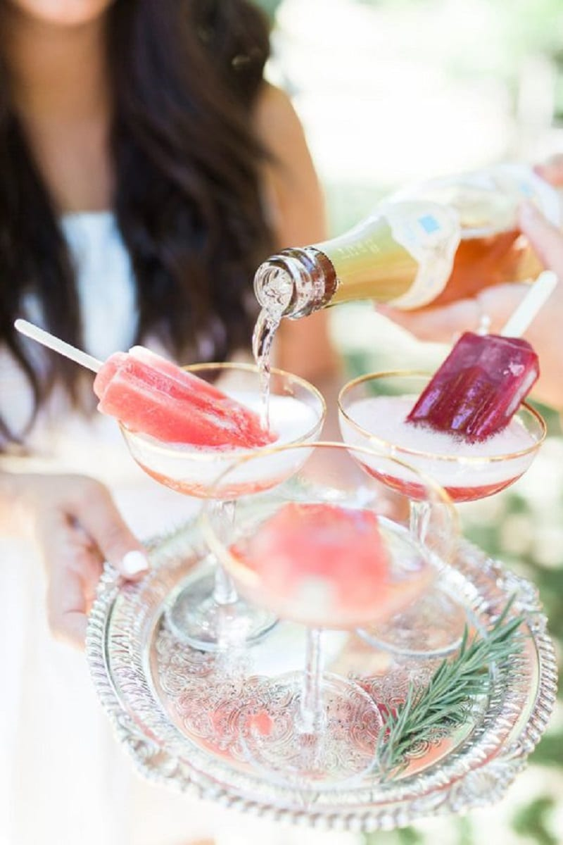 Cold wedding drinks and snacks