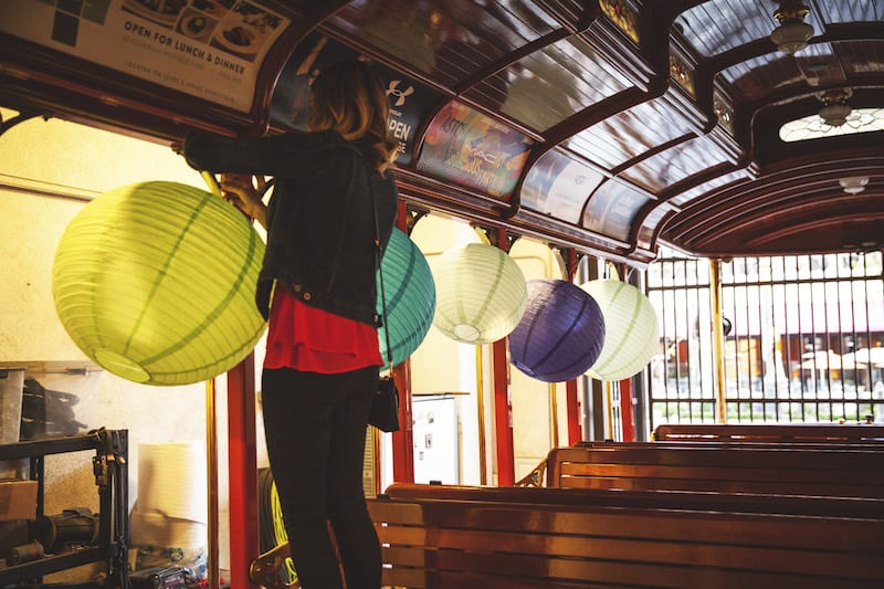 chinese lanterns in trolley car