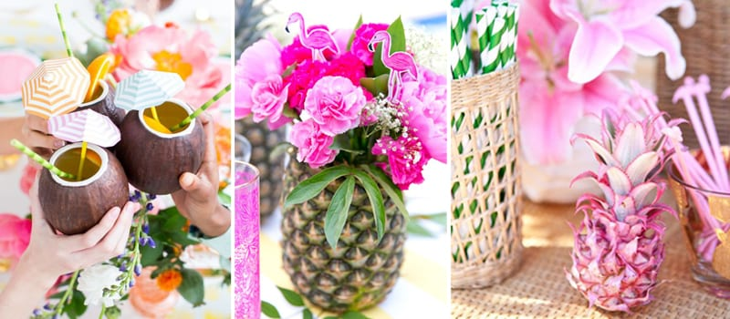 neon tropical party decor