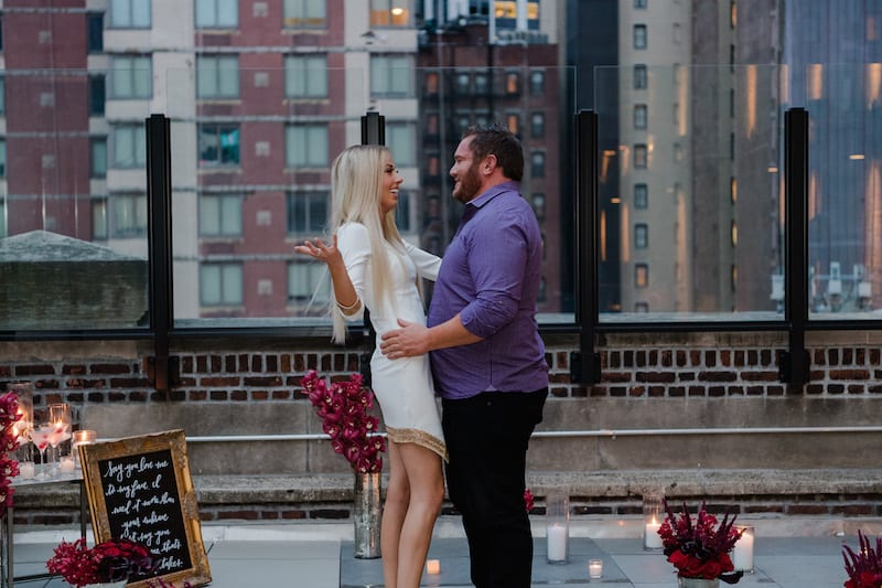 Rooftop Proposal in NYC with skyline view