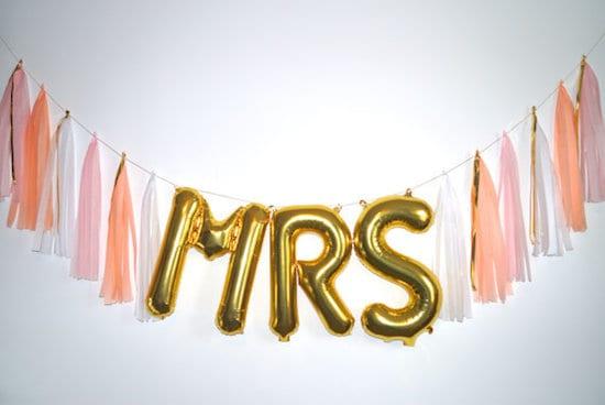 foil letter balloons for wedding