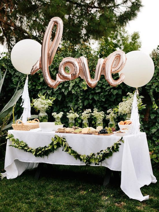 foil word balloons for wedding