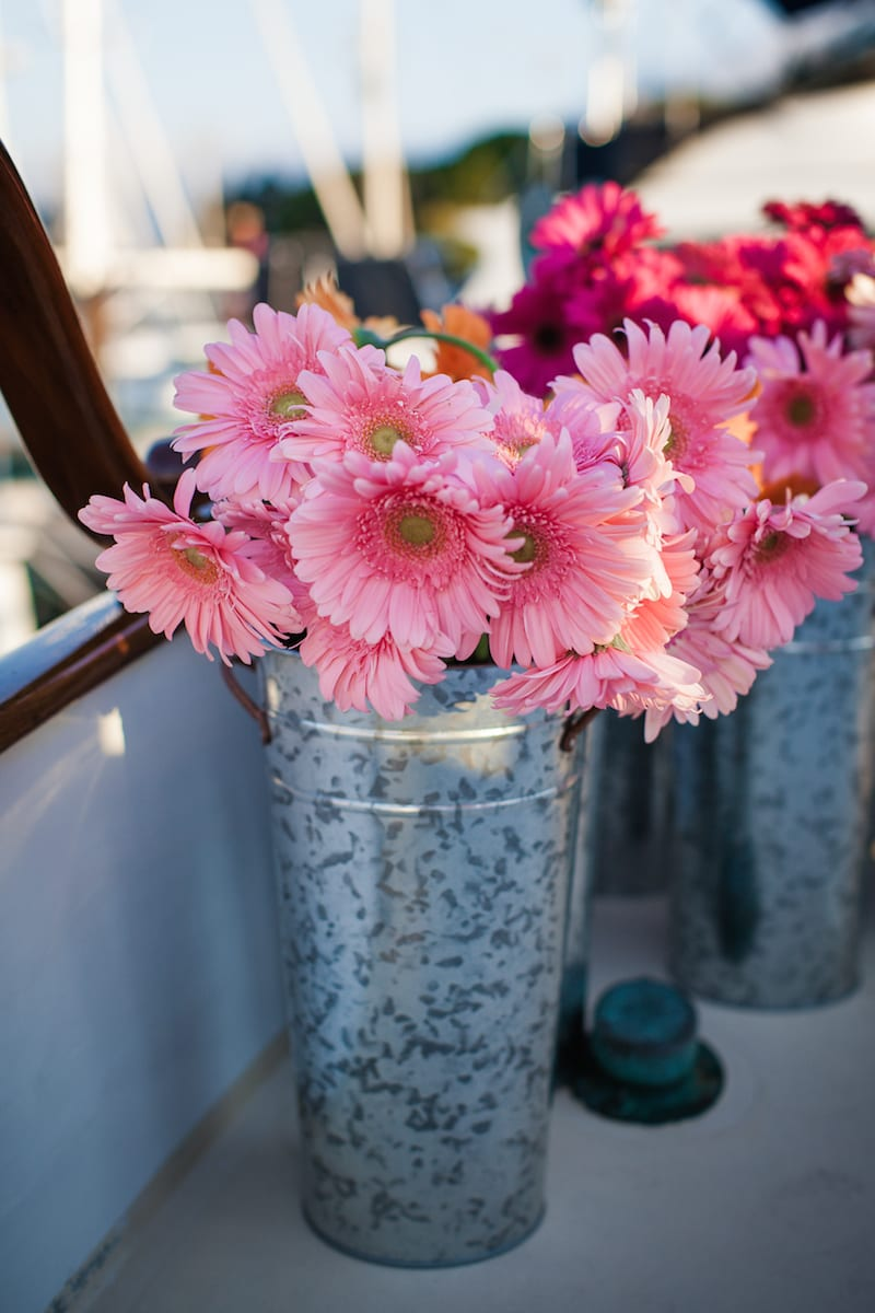 pink gerber daisy in galvanized tin vase