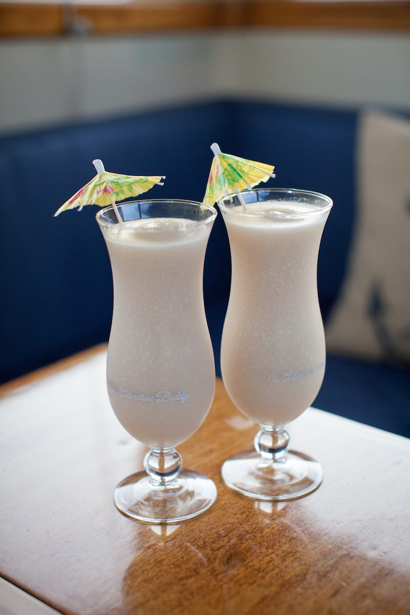 pina coladas in etched glasses