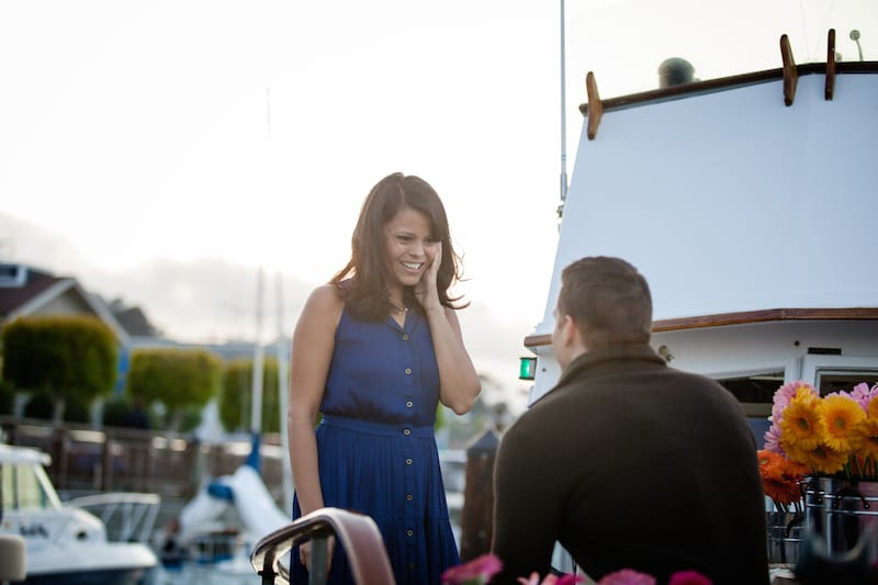 wedding proposal on private boat