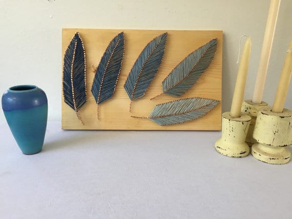 blue feathers string art