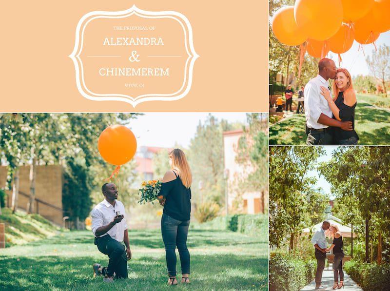 california wedding proposal down on one knee