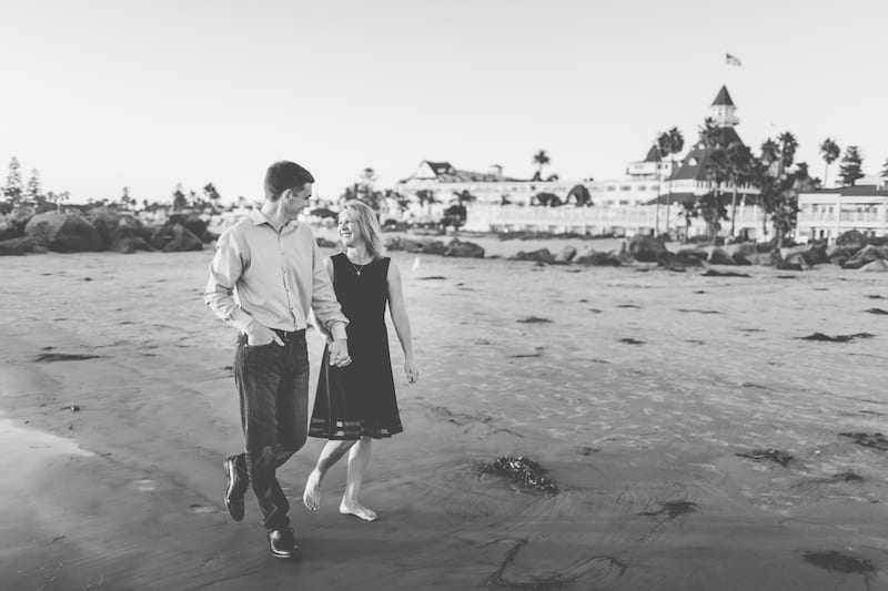 couple getting engaged on the beach in san diego