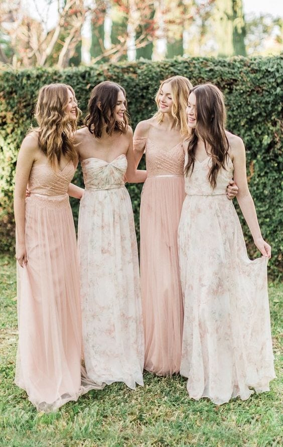 printed bridesmaid dress