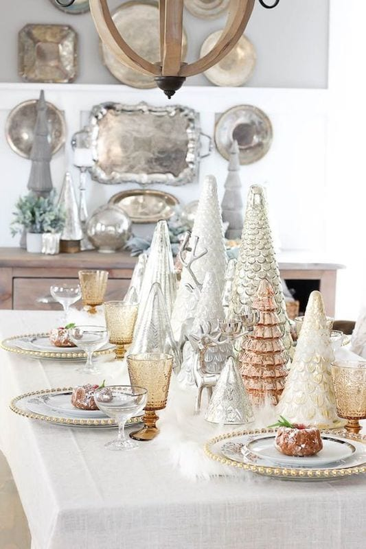 winter Christmas tree tablescape
