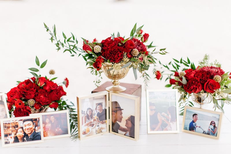 framed photos with flowers proposal
